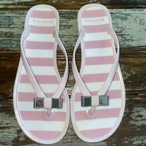 Coach pink and white striped flip-flop sandals